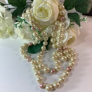 Betsey Johnson Pearl Pink Rosebud Long Necklace